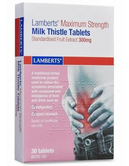 Lamberts Maximum Strength Milk Thistle Tablets Standardised Fruit Extract 300mg 30 Tabs #8010