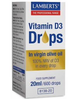 Lamberts Vitamin D3 Drops (100% NRV of D3 in every drop) 20ml # 8138