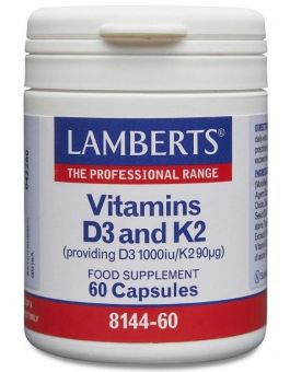 Lamberts Vitamins D3 1000iu And K2 90µg60 Caps #8144