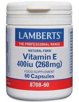 Lamberts Natural Vitamin E 400 i.u.(268 mg) 60 Caps # 8708