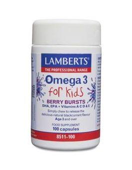 Lamberts Omega 3 for Kids Berry Bursts (DHA, EPA + Vitamins A, C, D & E) 100 Caps # 8511