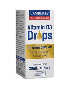 Lamberts Vitamin D3 Drops (100% NRV of D3 in every drop) 20ml # 8138
