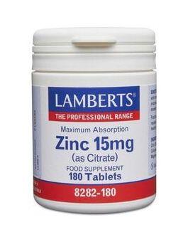 Lamberts Zinc 15mg (as Citrate) 180 Tablets # 8282